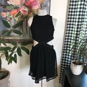 Minkpink black lace dress with cut out sides